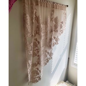 Vintage Tan Lace Short Curtain Panel